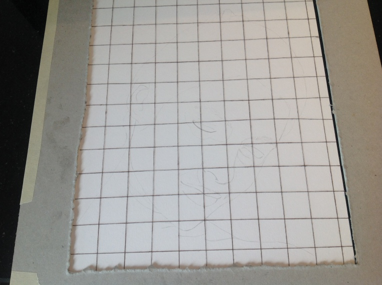 Using a grid made from thread and cardboard