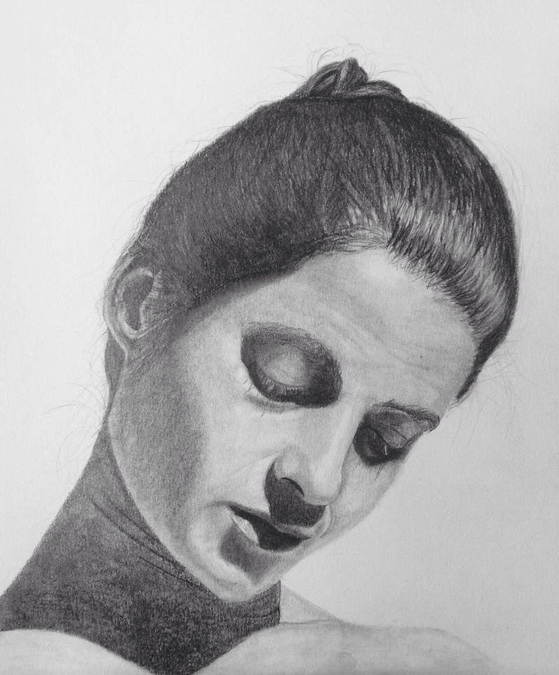 Serenity - graphite portrait study on fine grain, heavyweight paper