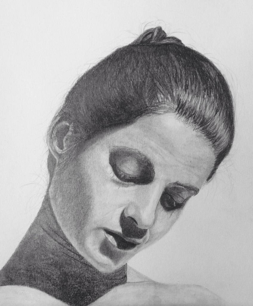 Serenity - graphite portrait study on fine grain, heavyweight paper