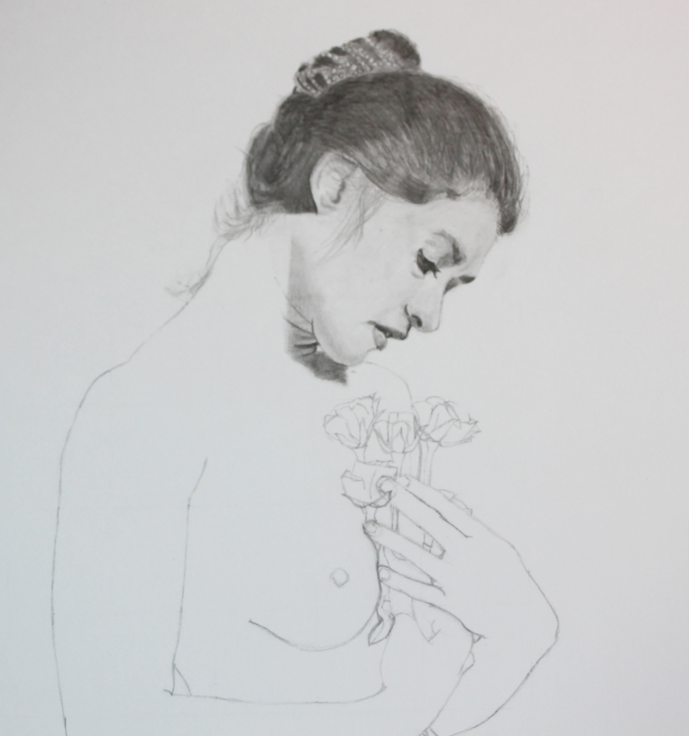 Young woman with roses. Graphite on white bristol.