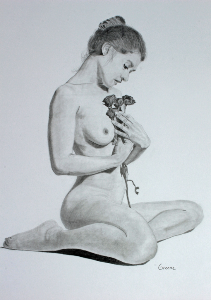 Young Woman with Roses. Blacklead graphite on white bristol.